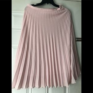Asos Pleat Pink Midi Skirt